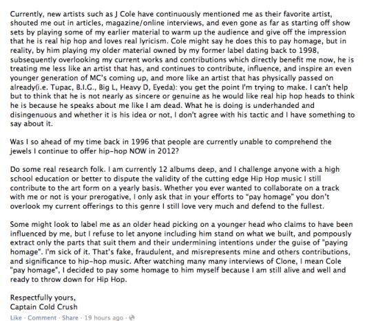 Canibus Writes About J. Cole